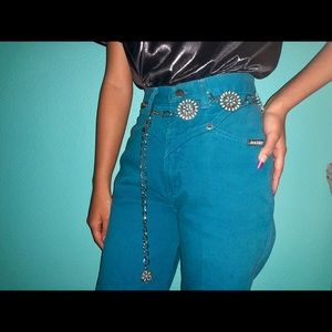 Vintage unique turquoise and silver chain belt